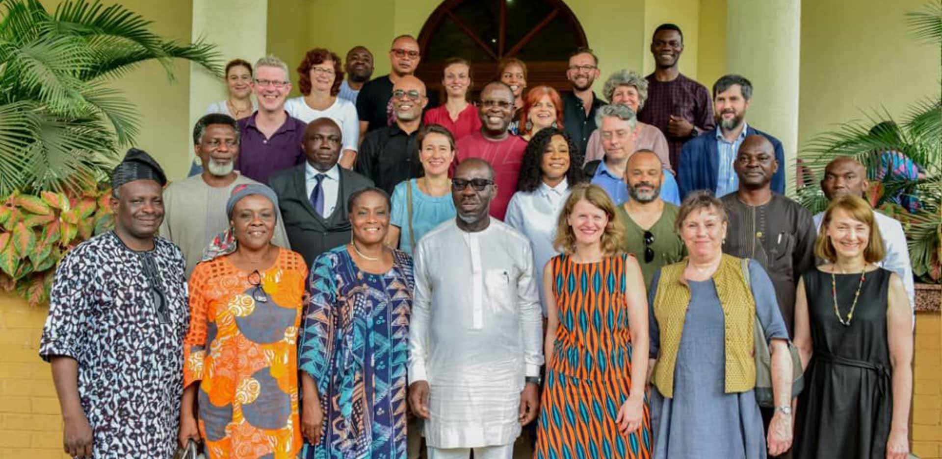 Governor of Edo State, Godwin Obaseki (front row, centre); Commissioner for Justice and Attorney General, Prof Yinka Omorogbe (front row, third from left); members of the Benin Dialogue Group and other stakeholders, along with members of the government of Edo State after the breakfast meeting in Benin City on 9 July 2019