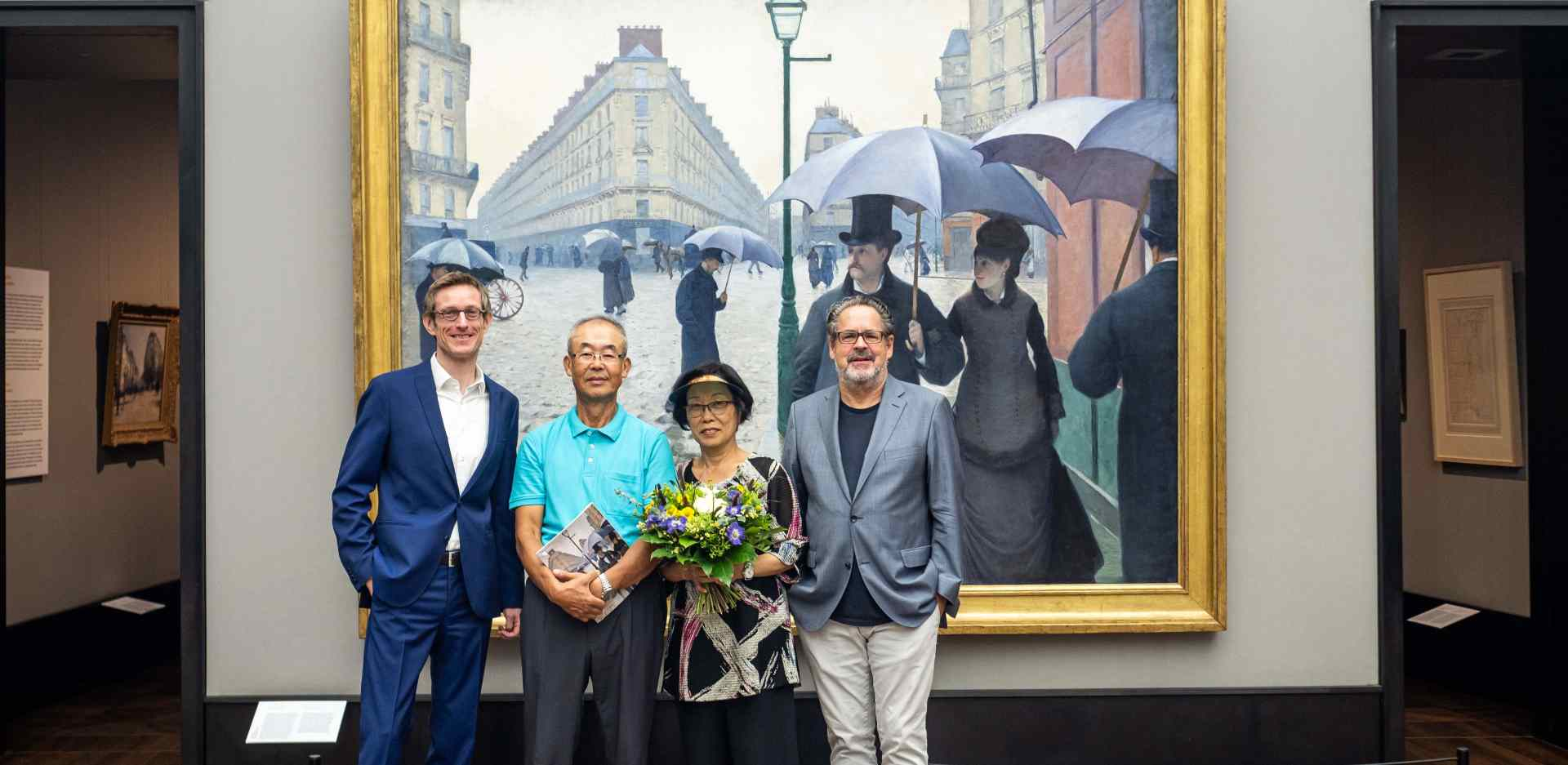 Udo Kittelmann, Director of the Nationalgalerie – Staatliche Museen zu Berlin, Ji Yong-Sung with her husband and Ralph Gleis, Head of the Alten Nationalgalerie (from right to left)