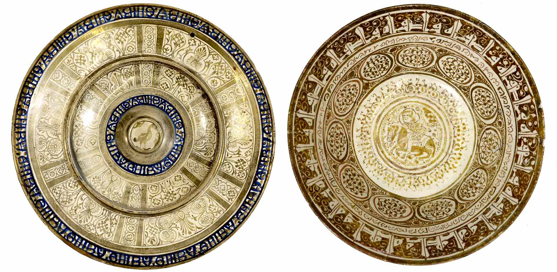 Large plate, Valencia, Spain, first half of the 16th c., lusterware with inscriptions in cobalt blue (left), and bowl with knight illustration, Iran, 13th c. (right), Ludwig Collection
