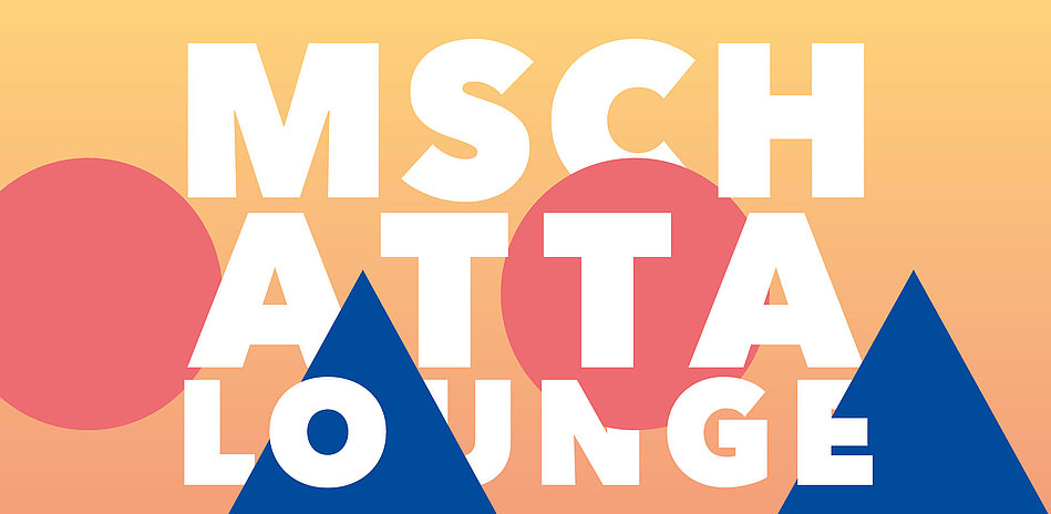 The orange, red, and blue logo for the Mschatta Lounge concert series presented by Berlin's Museum of Islamic Art.