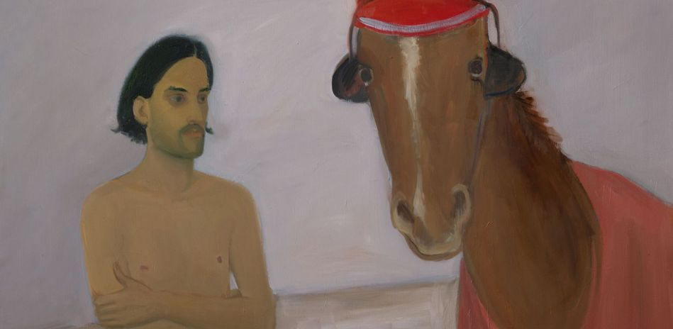 Xinyi Cheng, The Horse Wearing a Red Ear Bonnet and Eye Blinders, 2020, Öl auf Leinwand (Detail), 160 x 145 cm