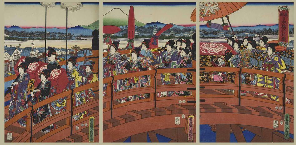 Utagawa Kunisato, Procession on the Nihonbashi Bridge in the Eastern Capital (Edo), Japan, Edo (Tokugawa) Period, 1853 (3rd month)