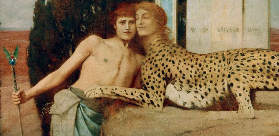 Fernand Khnopff, The Caresses, Detail, 1896