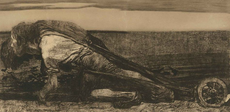 Käthe Kollwitz, The Plowmen, detail, 1908