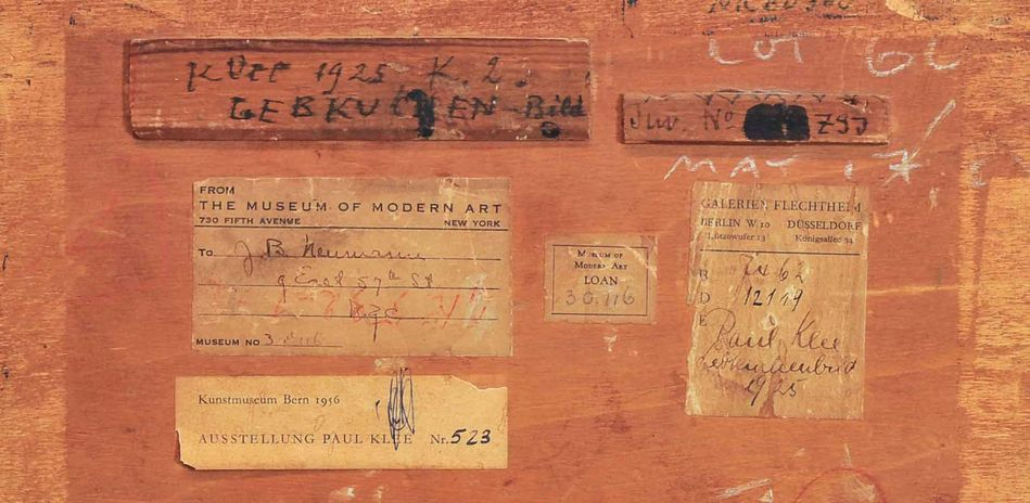 Reverse side of Paul Klee's Lebkuchenbild (The Gingerbread House) with provenance indications, detail