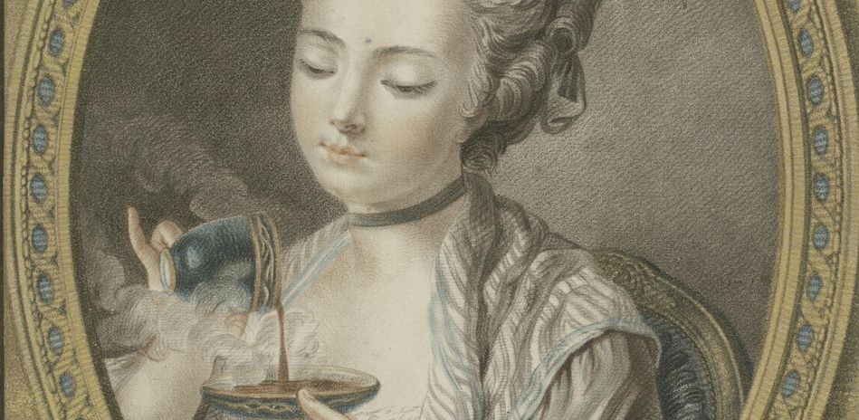 Louis-Marin Bonnet, The Woman Taking Coffee, 1774, pastel manner; printed in blue, red, carmine, purple, yellow, and black inks with applied gold leaf. Acquired in 2012 to complement a work in the collection