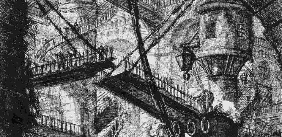 Giovanni Battista Piranesi, Carceri d'Invenzione: The Pillar with the Chain, Detail, 1760. Etching on paper