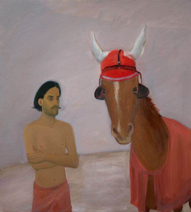 Xinyi Cheng, <strong>The Horse Wearing a Red Ear Bonnet and Eye Blinders</strong>, 2020 <br>Öl auf Leinwand<br>160 x 145 cm <br>© Foto: Aurélien Mole, Courtesy the artist / Balice Hertling