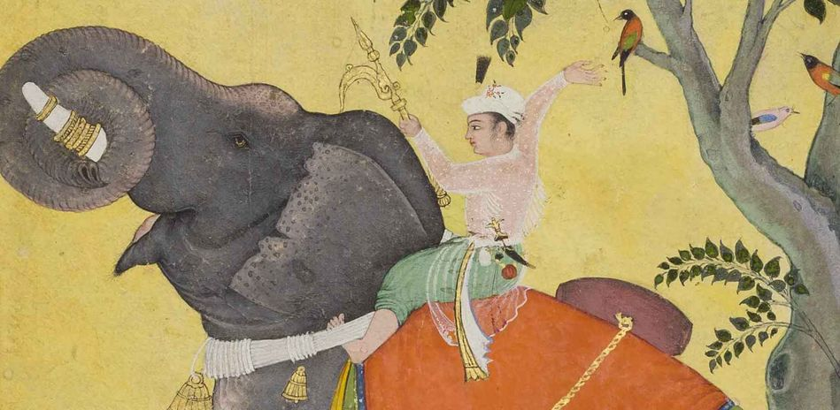 Mughal school, Emperor Akbar riding his favourite elephant, detail, 1609–1610, opaque watercolour and gold on paper