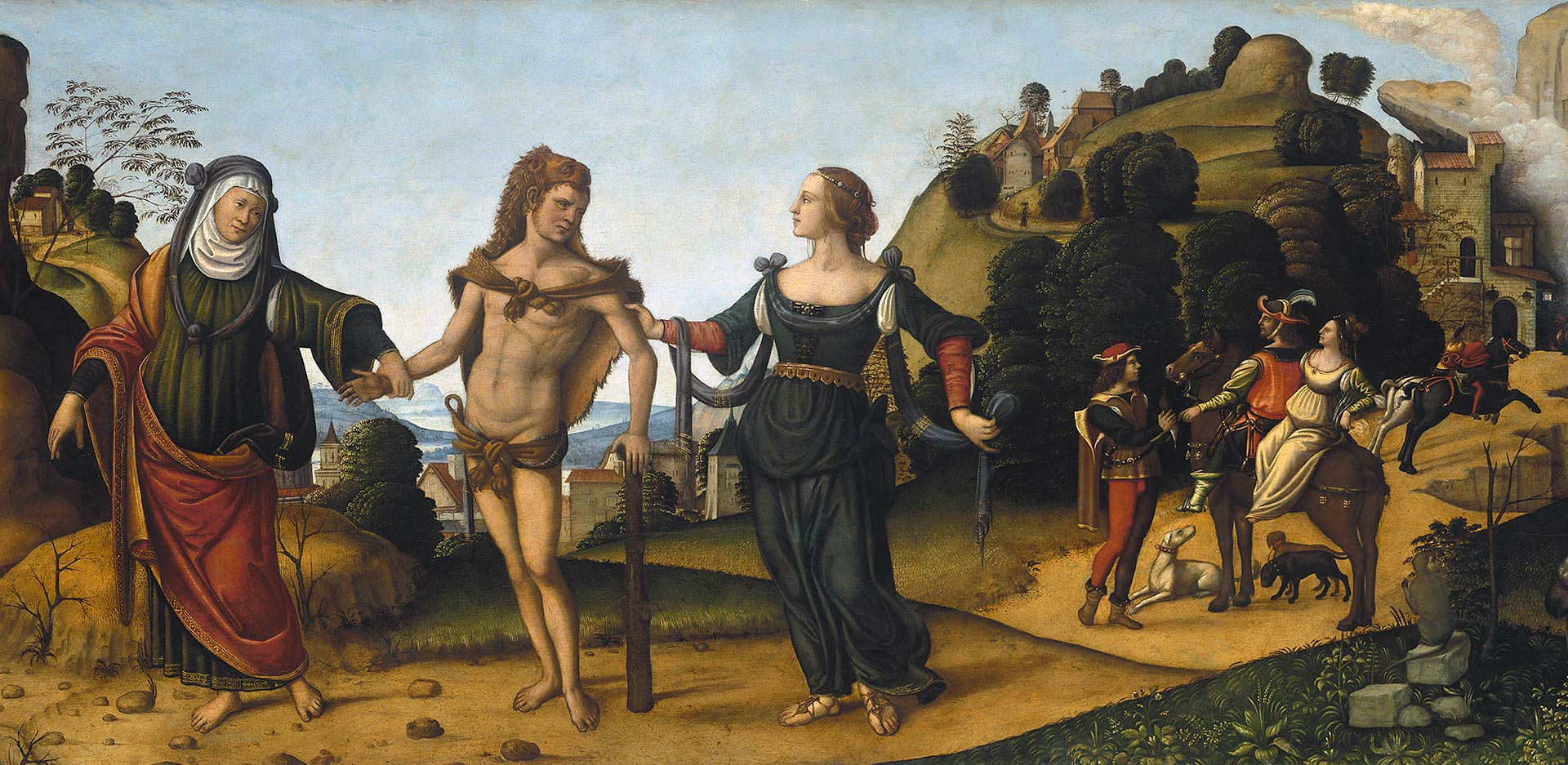 On view is: Niccoló Soggi, Hercules at the Crossroads (detail)