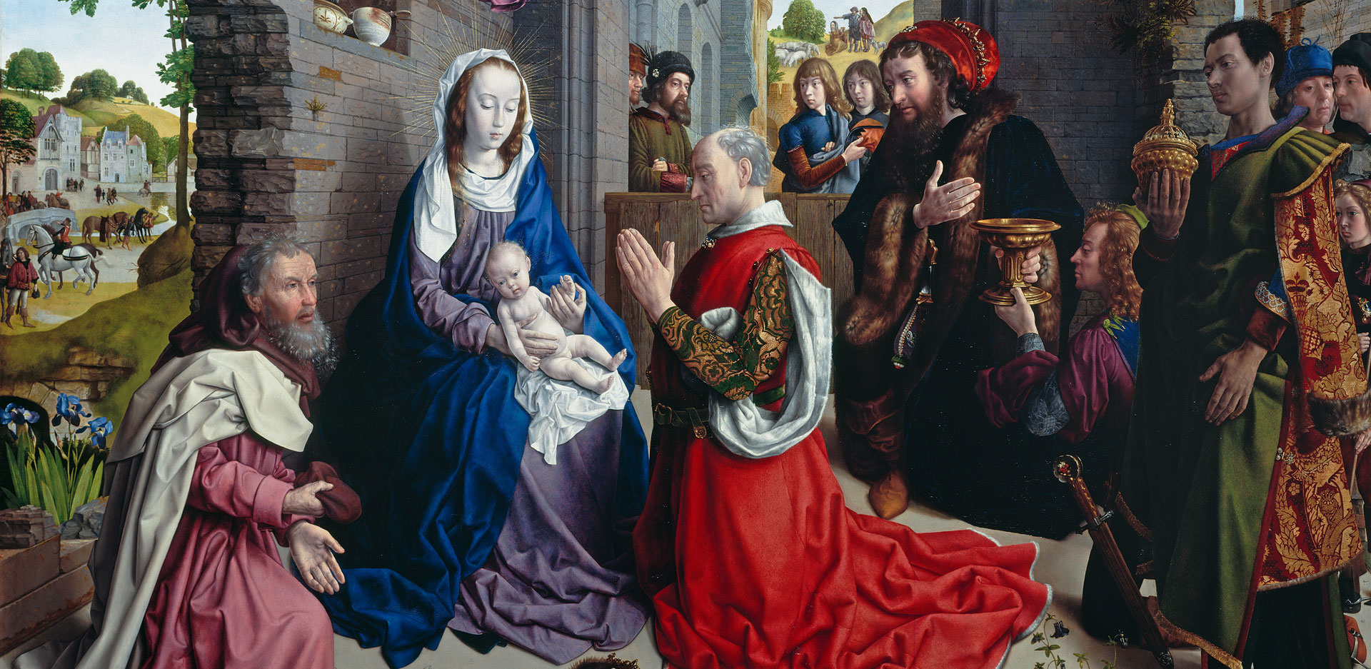On view is: Hugo van der Goes: The Adoration of the Kings, detail, part of the Monforte Altar, around 1470.
