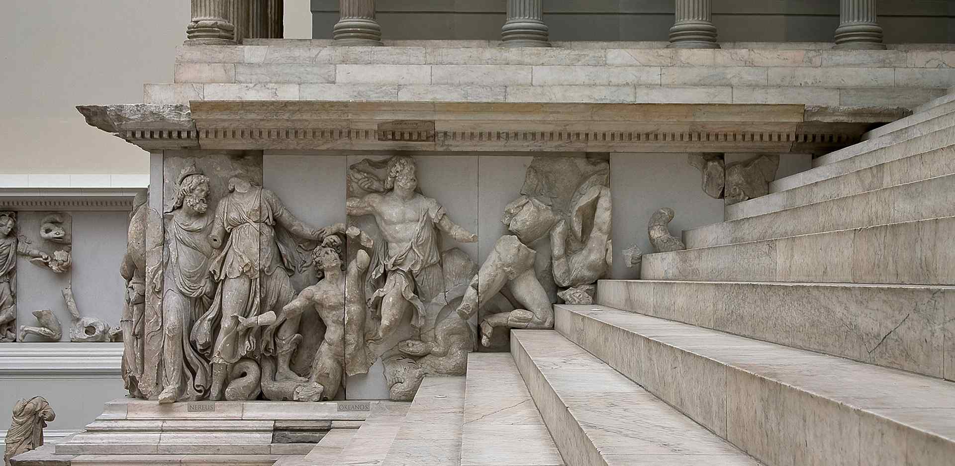Pergamon Altar, view of the Gigantomachy frieze / north risalit. A complete and richly detailed 3D model of the Pergamon Altar created as part of a digital scanning project is now available online.