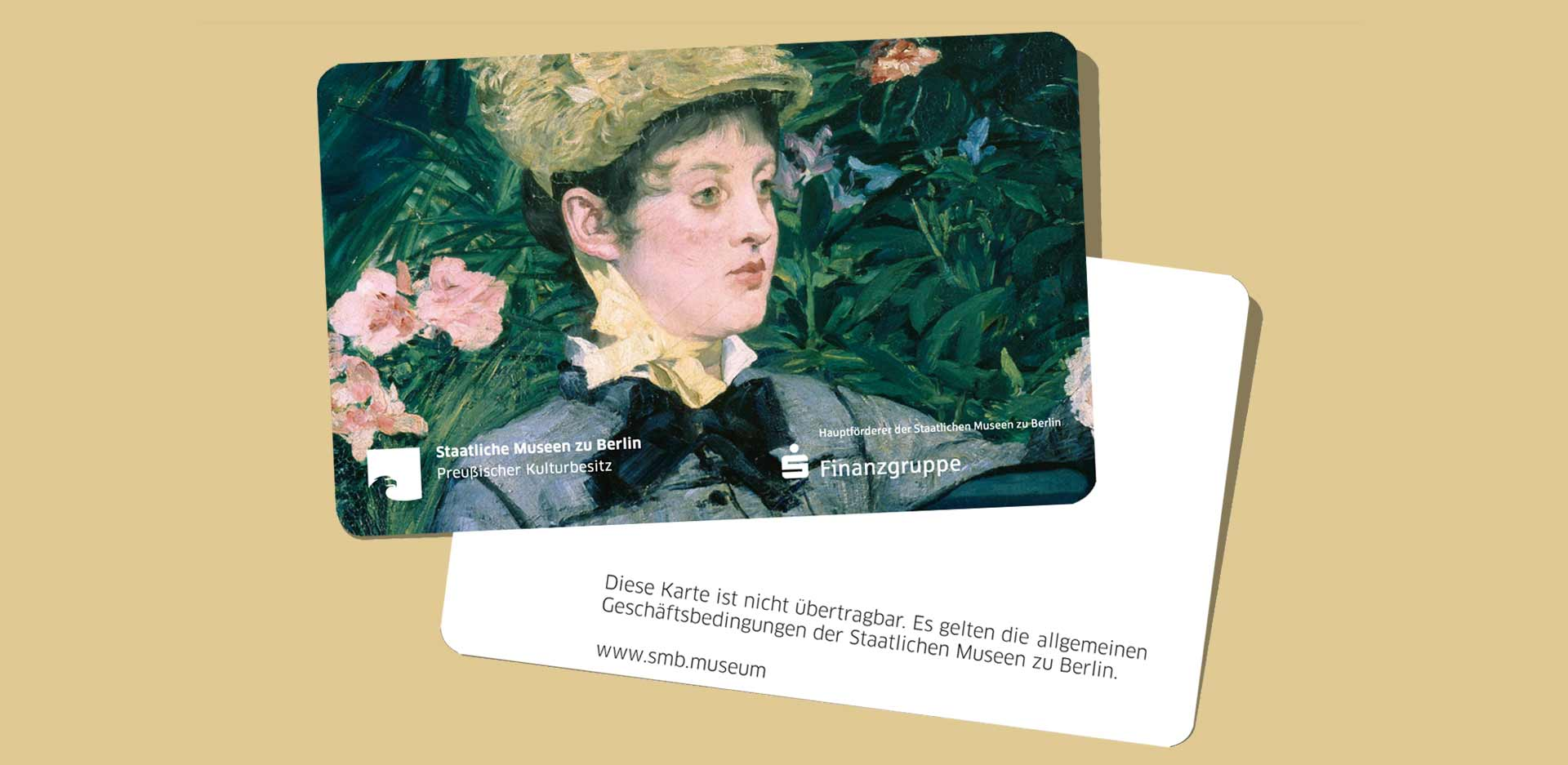Front and back of an annual card with a motif from the Nationalgalerie: Edouard Manet, In the Conservatory, 1878-79