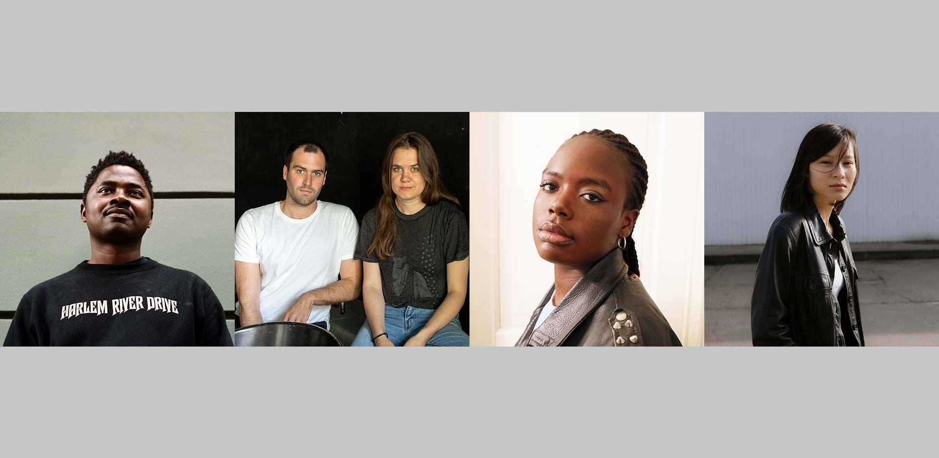 Collage with portraits of the nominated artists, from left to right: Lamin Fofana | Calla Henkel & Max Pitegoff | Sandra Mujinga | Sung Tieu