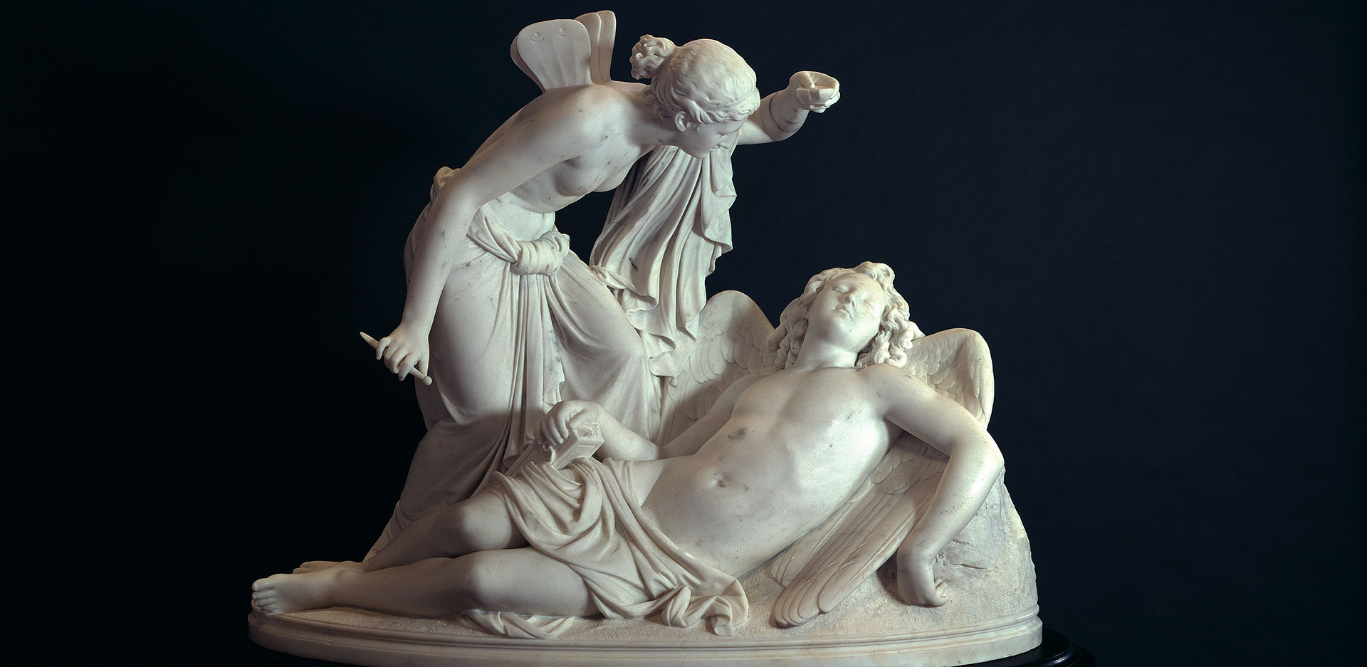 Reinhold Begas (1831-1911), Cupid and Psyche, sculpture / marble (1854-57)